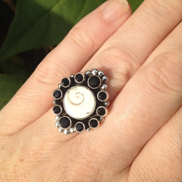 Shiva Eye and Faceted Black Onyx 925 Sterling Silver Ring Size 7
