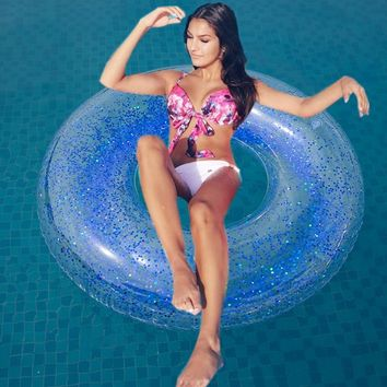 110CM Holographic Glitter Giant Inflatable Swimming Ring Confetti Glitter Swimming Circle Pool Float Summer Beach Water Toy Boia