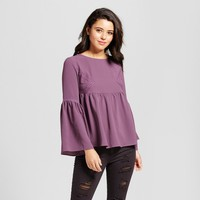 Women's Embroidered Lace Bell Sleeve Top - Grayson Threads (Juniors') Purple