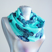 Handmade Turquoise Butterfly Infinity Scarf - Summer Chiffon Scarf
