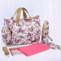 2015 NEW Mother Bag Baby Nappy Bags Large Capacity Maternity Mummy Diaper Bag Cotton Flower Style Retail 1 pc