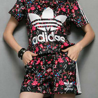 Adidas Summer Series Women Flowers Print T-shirt Shorts Two pieces