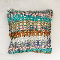 Aqua Chuky Knit Cushion