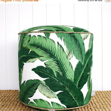 "ON SALE Square Fox Green Palm outdoor pouf ottoman floor seat | Round 45cm or 18"" diameter"