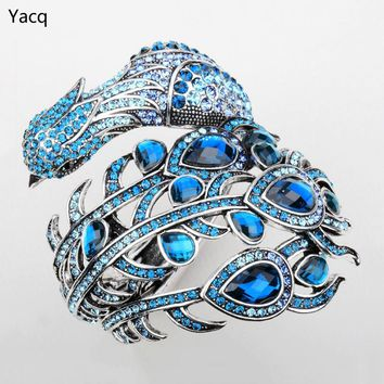 YACQ Peacock Bracelet for Women Crystal Bangle Cuff Punk Rock Jewelry Gifts for Girlfriend Wife Her A29 ping