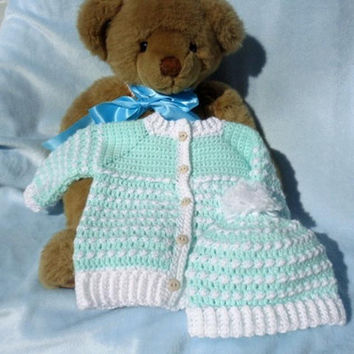 Crochet Newborn Sweater w Hat Baby Boy Mint Green & White 0 3 mo.