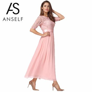 Plus Size 3XL 4XL 5XL Lace Dress Women Chiffon Dress Long Gowns Slim Elegant Ladies Evening Maxi Party Dresses female Club Wear