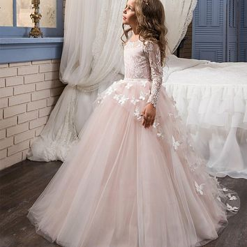 DF808 Lace Ball Gown Flower Girl Dresses Tulle Long Sleeve Girls Pageant Gowns For Weddings Kids First Communion Dresses