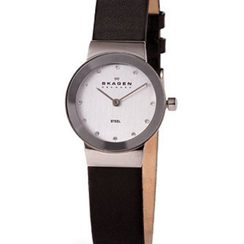 Skagen Ladies Leather Strap & Crystals - Gray Metallic Dial - Stainless Steel