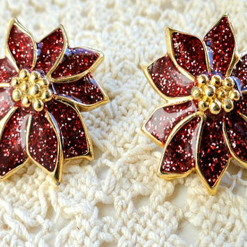 Vintage Christmas Holiday Earrings, Red and Gold tone Pointsettias, Costume Jewelry