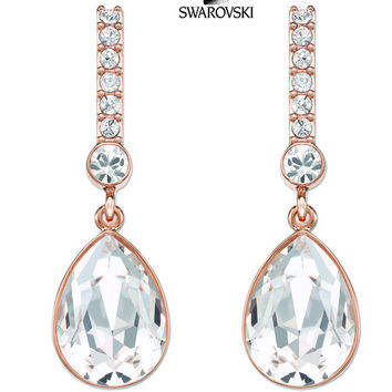 Swarovski Clear Crystal JEWELRY Pierced Earrings ATTENTION Rose Gold #5036783