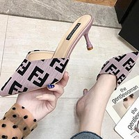 FENDI Hot Sale Women Stylish Pointed Sandal Slipper Shoes High Heel Pink Purple