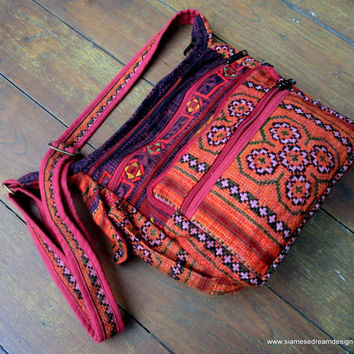 Messenger Bag Cross Body Tote In Ethnic Hmong Berry Embroidery and Batik