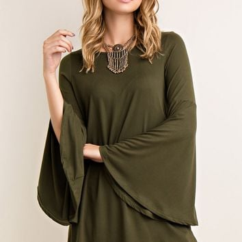 Olive Bell Sleeved Shift Dress