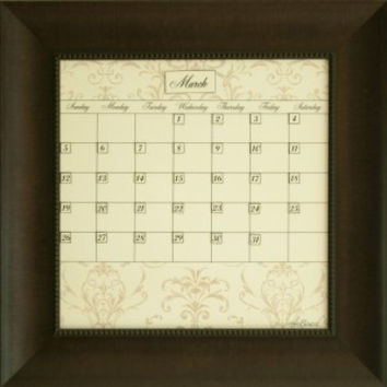 Dry Erase Calendar Board Framed Brown Small Contrast Home and Office Organization