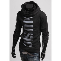 """Music"" Letter Print Long Sleeves Hoodies"