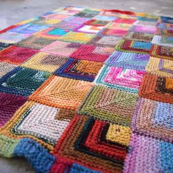 Colorful squares baby blanket, pram blanket, stroller blanket, sock yarn blanket, Ready to ship