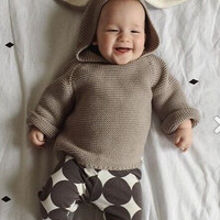 2016 autumn and winter high-quality design knitted baby sweater cotton 3D bunny costume for boys and girls sweaters  y038