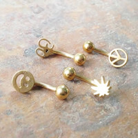 Stainless steel gold, Daith, Rook, Eyebrow ring Happy face, potleaf, Ohm or peace choose a style