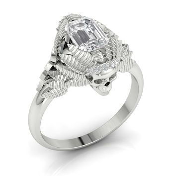 Skull Engagement Ring Emerald Cut Center 10 k