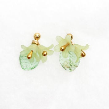 Violets and Leaves Earrings green and purple by Hieropice on Etsy