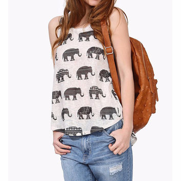 New Summer Women Casual Loose Sleeveless O Neck Elephant Animal Printed Vests Fashion Asymetrical Hem Back Split Tank Tops