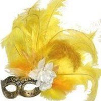 Venetian Masks: Black and Gold Mask with Ostrich and Capon Feathers