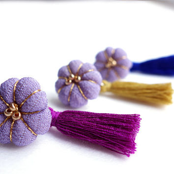 Blooming Kimono tassel earrings of Japanese traditional color / Plum blossom pale Purple -Pick your tassel color -