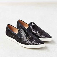 ALL BLACK Sequins Pointy-Toe Slip-On Sneaker- Black