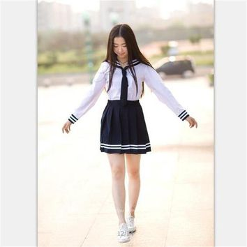 School uniform set Student uniform tie fashion Sailor suit set Table costume Japanese school uniform Girl  Performance clothing
