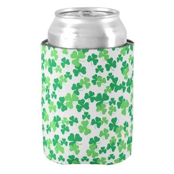 St. Patricks day clover pattern Can Cooler