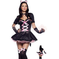 Halloween Cute Black Cat And Mickey Mouse Role Playing Cartoon Costumes For Women