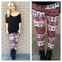 Red & Black Argentina Leggings