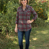 Winding Roads Flannel Shirt - Gray Plaid