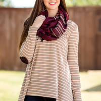 Read Between The Lines Top-Taupe