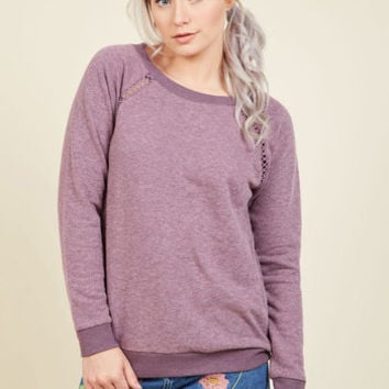 Maximum Relaxation Sweatshirt in Lavender | Mod Retro Vintage Short Sleeve Shirts | ModCloth.com