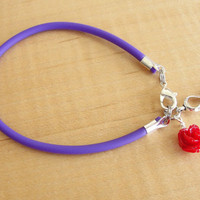 Cystic Fibrosis Awareness Bracelet / Anklet - Purple Rubber with Red Rose