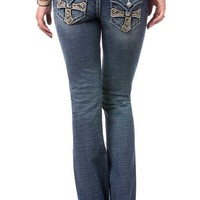 Miss Me Signature Bootcut Jeans with Cross Flap Pockets JP7611B-MK464
