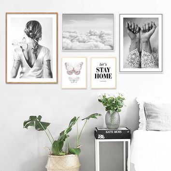 Scandinavian Style Girl Realist Abstract Painting Wall Art Canvas Posters and Prints Nordic Decoration Picture Modern Home Decor