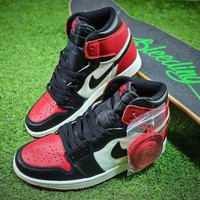 Air Jordan 1 Retro High OG Bred Toe 555088-610 AJ1 Basketball Shoes - Best Online Sale