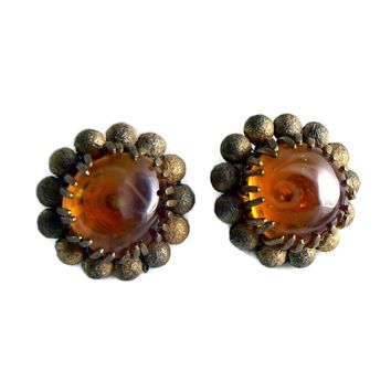 Vintage Miriam Haskell Amber Glass Earrings
