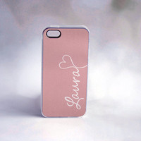Personalized Phone Case iPhone Samsung Galaxy - Rose Gold + Monogram iPhone Case + Silicone iPhone Case + teal + Silver