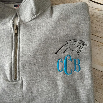 Carolina Panthers Monogrammed Quarter-zip Pullover