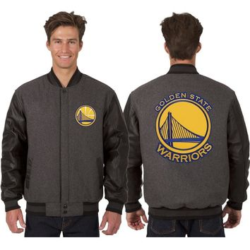 Golden State Warriors Wool and Leather Jacket - Charcoal/Black