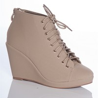 Forever Streamline Time Olesia-12 Lace Up Faux Suede Wedge Ankle Booties - Taupe