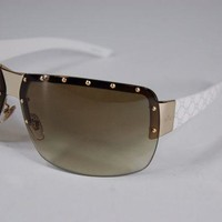 DCCKNY1 SUPER BEAUTIFUL! GUCCI 1819/S WITHE&GOLD GG LOGO OVERSIZE WOMEN SUNGLASSES
