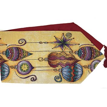 DaDa Bedding Bohemian Ornaments Table Runner, Colorful Golden Holiday Tapestry (14916)