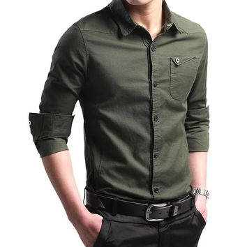 2017 New Spring Button Down 100% Cootn Military Shirt Men Long Sleeve Casual Shirts