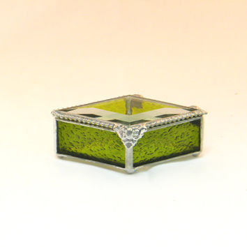 "Stained Glass Jewelry Boxes, Keepsake Box, 2 X 4"", Olive Greeen, Diamond Shape, Bridesmaid Gift, Mother's Day Gift"