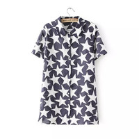 Summer Korean Women's Fashion Print Slim Short Sleeve Blouse [6514233351]